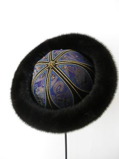 Pelshat / Pelshue. Fur hat, Model China, in mink. Handembroidered top, old Indian silk brocade. Handmade by Jane Eberlein, Samarkand, Copenhagen, Denmark. www.samarkand.dk