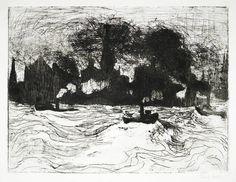 Emil Nolde Hamburg, Binnenhafen. Radierung (Strichätzung) 1910. 31 x 41 auf 50,1 x 64,2 cm. - Galerie Henze & Ketterer