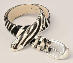 "Genuine Leatherock Belt Black & White Haircalf Fur Zebra Look 1"" Wide Silver…"