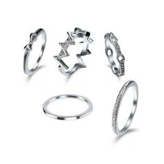 Rhinestone Bows Round Finger Ring Set Silver ($4.55) ❤ liked on Polyvore featuring jewelry, rings, round ring, silver rhinestone jewelry, bow jewelry, silver rings and silver jewelry