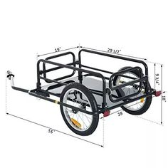 Aosom Wanderer Folding Bicycle Bike Cargo Storage Cart and Luggage Trailer with Hitch - Black - Cheaper and better quality than anything I could find locally. Bike Cargo Trailer, Motorcycle Trailer, Cargo Trailers, Motorcycle Tires, Accessoires Kayak, Bicycle Cart, Velo Cargo, Folding Bicycle, Camping Cart