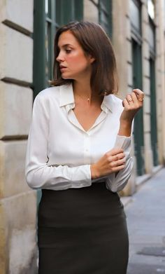 Monaco Silk Blouse Silk Button-Up Shirt Black Silk Shirt, White Silk Blouse, Monaco, Satin Blouses, White Blouses, How To Look Classy, White Shirts, Casual Wear, Work Wear