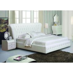 @Overstock - This Eastern King platform bed frame features a contoured headboard for a decidedly modern and sophisticated look. This beautiful bed frame is upholstered in bonded leather with a white finish.  http://www.overstock.com/Home-Garden/Eastern-King-White-Bonded-Leather-Platform-Bed-Frame/7356747/product.html?CID=214117 $993.99