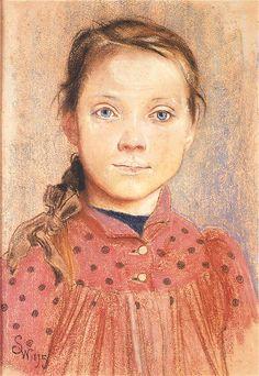 Portret dziewczynki. Pastel z 1895 roku.