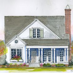 Cherry HillPlan - 18 Small House Plans - Southern Living - Compact and very functional, this cottage-style plan is an easy fit for any family. Square Footage: 3 bedrooms, 3 baths See Plan: Cherry Hill Small Cottage Homes, Small Cottages, Cottage Plan, Cottage Living, Cottage Style, Small Houses, Cottage Ideas, Craftsman Cottage, Cottage Floor Plans