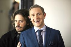 Martin and Edgar Wright behind the scenes of The World's End - I love a smiley Martin