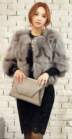 StyleOnme_Lace Fleece-lined Pencil Skirt #lace #black #grey #furcoat #koreanfashion #elegant #feminine #kstyle #seoul #formal #lady #luxury #fall #winter #kfashion