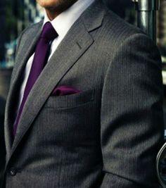 gray suits with purple tie, no vest, pocket square Wedding Tux, Plum Wedding, Wedding Attire, Wedding Colors, Wedding Ideas, Dream Wedding, Civil Wedding, Fall Wedding, Wedding Planning