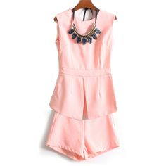 Hot Slit Sleeveless Top Solid Shorts Woman Two Pieces Suit