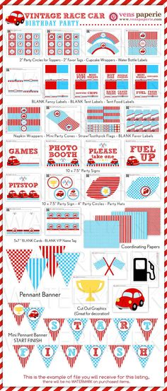 Vintage Red Racing Car Birthday Party Package by venspaperie, $35.00