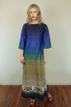 Vtg 70s Abstract Draped Caftan Hippie Boho Caftan Festival Maxi Dress M | eBay