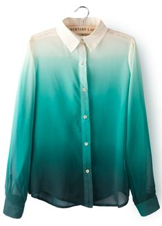 Cute Ombre Long Sleeve Blouse