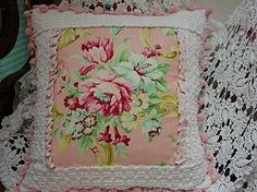 Vintage Chenille Pink Roses Porch Pillow - Sis Boom Fabric