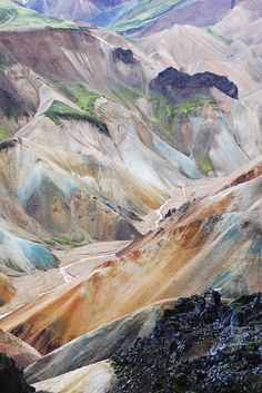 - by x@ray, via Flickr Mount Brennisteinsaida, Landmannalaugar Iceland. Beautiful rainbow colored rhyolite