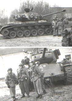 This is either just before or after the move to Bad Kissingen. The tank company has the Pershing tank. The guys have good uniform discipline in the field. Army Vehicles, Armored Vehicles, M26 Pershing, Military Special Forces, Sherman Tank, Tank Destroyer, Armored Fighting Vehicle, Ww2 Tanks, Battle Tank