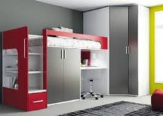 enchanting furniture children's room design with gray small cupboard under bed also bookcase idea beside stairs bed also gray rug on floor also gray white wardrobe corner Loft Bunk Beds, Kids Bunk Beds, Bedroom Loft, Kids Bedroom, Bedroom Decor, Tiny House Furniture, Home Furniture, Woodworking Furniture, Furniture Plans