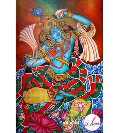 Name: krishna kerala mural painting Material: Acrylic & Canvas Size:24″x36 Frame :Include 1″inch white color