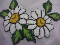 facebook Simple Embroidery, Silk Ribbon Embroidery, Punch Needle Patterns, Craft Patterns, Embroidery Needles, Embroidery Patterns, Needlepoint Stitches, Needlework, Daisy Love