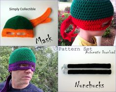 Crochet Pattern Ninja Turtles Hat & Nunchucks Set - Written plus Photo Tutorial