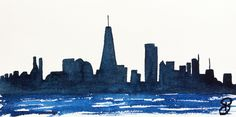 Downtown Skyline 15x30 cm - Série New York - 2017- new york city, aquarelle, watercolor