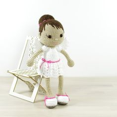 This written crochet pattern includes all the instructions needed to make your own angel doll. Includes one PDF file, 18 pages. Pattern is written in English, using US crochet terminology. I tried to keep beginner crocheters in mind and included detailed instructions, many step-by-step photos and useful tips and tricks.  SIZE 28 cm (11) from head to toe, with DK weight cotton yarn and 2,50 mm crochet hook (US size 1/B).  DIFFICULTY 3. Intermediate – includes more complicated crochet stitches…