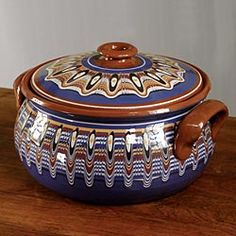 Hand-Painted Bulgarian Pottery 5 Quart Casserole in Holiday 2012 from Artisan Table