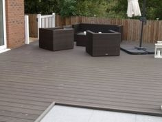 Fensys plastic composite garden decking installation with UPVC gate and fence - Modern Deck Building Plans, Deck Plans, Decking Suppliers, Wpc Decking, Laying Decking, Deck Construction, Modern Flooring, Diy Deck, Outdoor Furniture Sets
