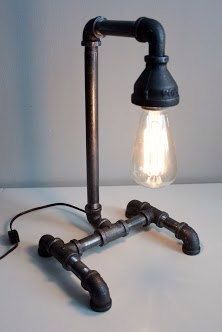 Etsy - industrial pipe lamp with Edison bulb - why not turn this into a wall light for above the steel
