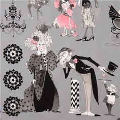 grey witch family fabric Alexander Henry The Ghastlies