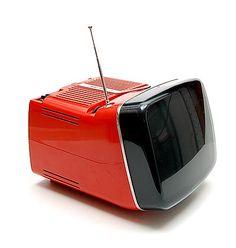 Red plastic portable television TV Algol 11 design Marco Zanuso Richard Sapper 1964 executed by Brionvega / Italy