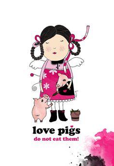 Vegetarian Print, Vegan Print, Love Pigs, A4, Animal Print, Vegan art