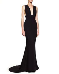 Stella McCartney Plunging Sleeveless Godet Gown, Black