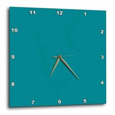 3dRose Plain teal blue - simple modern contemporary solid one single color - turquoise blue-green, Wall Clock, 15 by 15-inch