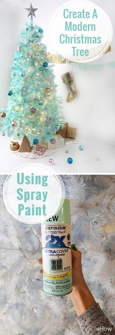 Spray paint an artificial tree for the most modern, colorful Christmas tree on the block! Get a completely unique and eclectic look, that compliments your personal style and celebrate the holidays your way. How-to here: uniquechristmastrees Unique Christmas Trees, Christmas Tree Painting, Christmas Tree Themes, Modern Christmas, Christmas Projects, Holiday Crafts, White Christmas, Vintage Christmas, Christmas Holidays
