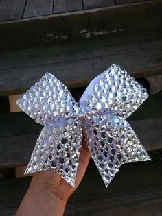 White sparkly cheer bow