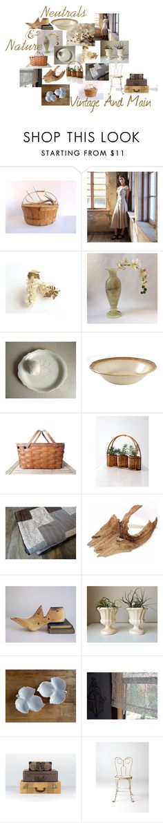 """Neutrals and Nature"" by vintageandmain ❤ liked on Polyvore featuring interior, interiors, interior design, home, home decor, interior decorating, Mikasa, Parlor, rustic and vintage"