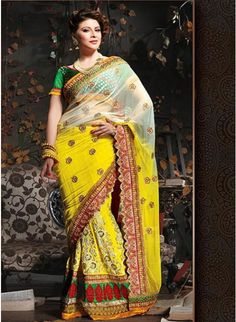 Melodic Off White & Yellow Embroidered #Saree