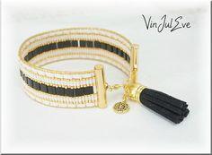 bracelet Loom Tilas noir beige or