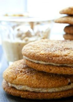 Snickerdoodle Cookie Sandwiches with Hazelnut Cream Filling