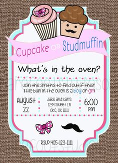 Cupcake or Studmuffin Gender Reveal Printable by BarefootStudiosOk