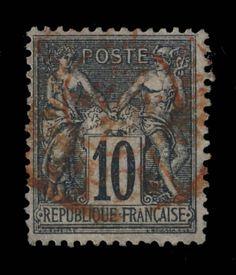 TYPE SAGE - 1877 - N°89 10c NOIR/LILAS (N SOUS U) CAD ROUGE DES IMPRIMÉS - TB in Timbres, France, France: oblitérés | eBay
