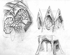 some of Gaudi's sketches for the Finca Guell