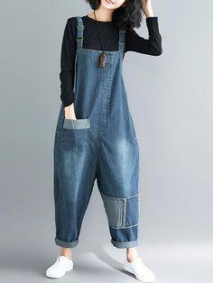 Wardrobe Hit Overall Dungarees - Eva Trends Funky Fashion, Denim Fashion, Urban Fashion, Hijab Fashion, Fashion Outfits, Womens Fashion, Fashion Top, Denim Jumpsuit, Dungarees