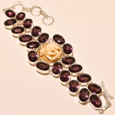 Excellent Elephant Cameo With Amethyst - 925 Silver Jewelry Bracelet #Unbranded