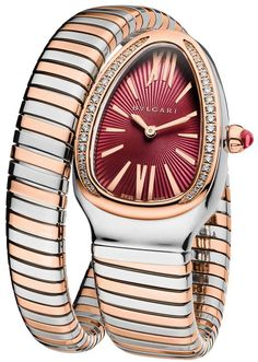 BVLGARI is famous for its glamorous gemstone jewellery, luxury watches, perfumes and leather goods. Bvlgari Diagono, Bvlgari Serpenti, Bvlgari Gold, Pink And Gold, Rose Gold, Purple, Bvlgari Watches, Luxury Car Brands, The Violet