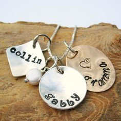 Hand Stamped Mommy Necklace  Family Bundle by Whimsicalheartstring