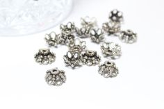 Sterling Silver 925 Bali Style Bead Caps 5x10mm by BeadtotheMax