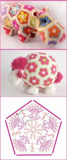 How To Crochet African Flower Pentagon [Free Crochet Pattern. - How To Crochet African Flower Pentagon [Free Crochet Pattern and Video Tutorials] African Flower Mofif for Amigurumi, Crochet Toys and Animals African Flower Crochet Animals, Crochet Puff Flower, Crochet Flower Patterns, Crochet Toys Patterns, Amigurumi Patterns, Crochet Motif, Crochet Dolls, Crochet Flowers, Crochet Stitches