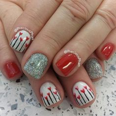 A glittery nail polish wouldn't be so bad if you partnered it with a simple nail polish and a simple nail art design.