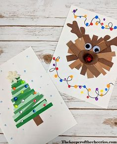Paper Strips Christmas Crafts - The Keeper of Cheerios # Keeper # . - Paper Strips Christmas Crafts – The Keeper of the Cheerios - Preschool Christmas, Easy Christmas Crafts, Christmas Activities, Christmas Ornaments, Christmas Projects For Kids, Childrens Christmas Card Ideas, 2nd Grade Christmas Crafts, School Christmas Cards, Christmas Crafts For Children